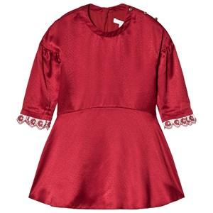 Chloé Silk Embroidered Klänning Röd 5 years