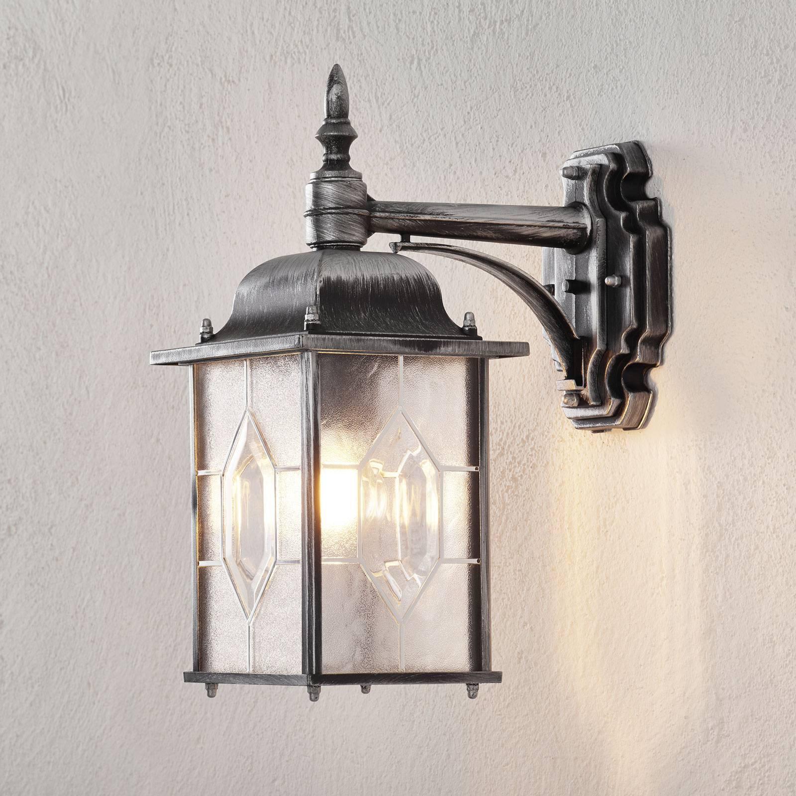 Vegghengt utelampe MILANO i svart/sølv, hengende