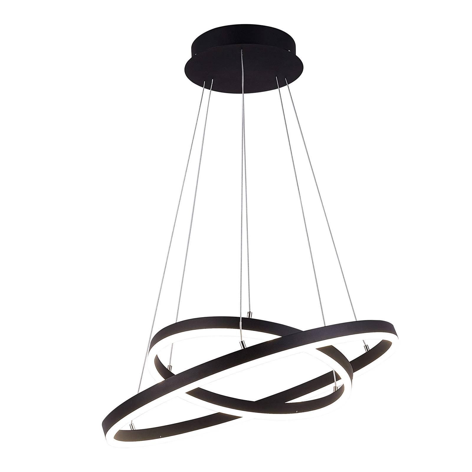 Arcchio Albiona -LED-riippuvalo musta 2 rengasta