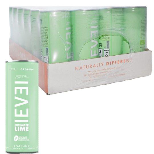 "Hel låda Dryck ""Level Organic"" Gurka & Lime 24 x 250ml - 50% rabatt"