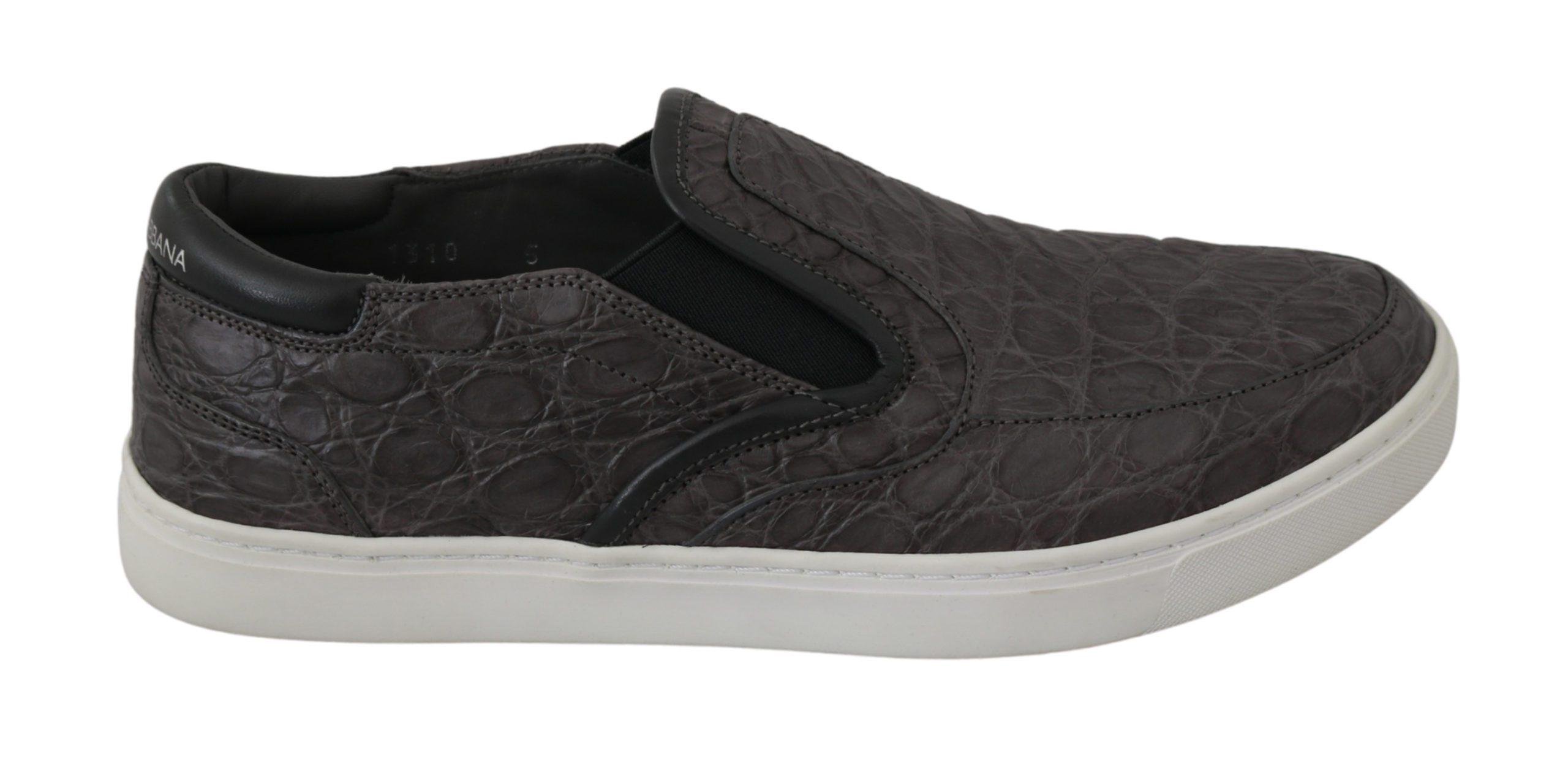 Dolce & Gabbana Men's Leather Caiman Loafers Shoes Gray MV2676 - EU39/US6
