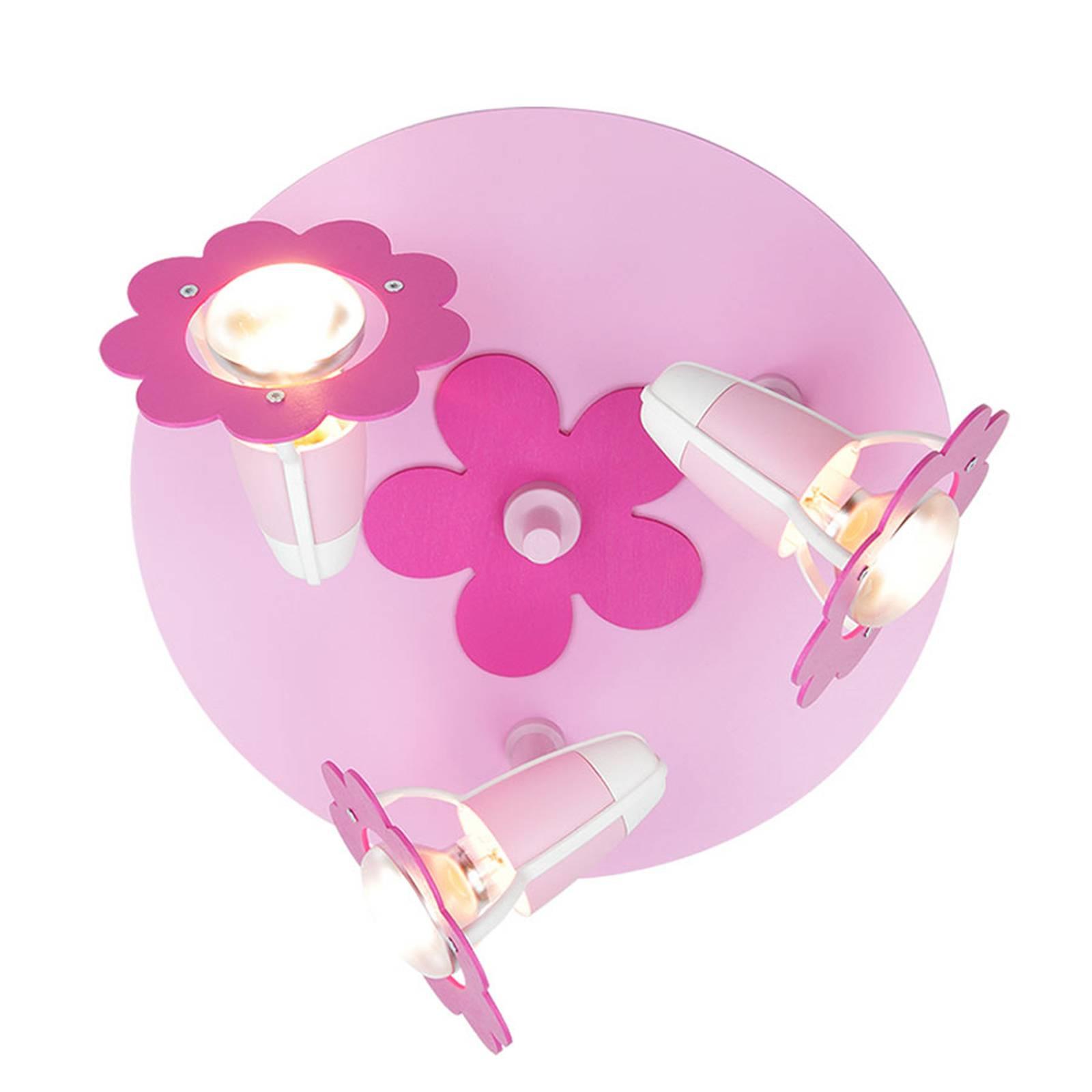 Kukka-kattovalaisin, roosa, pyöreä, 3-lamppuinen