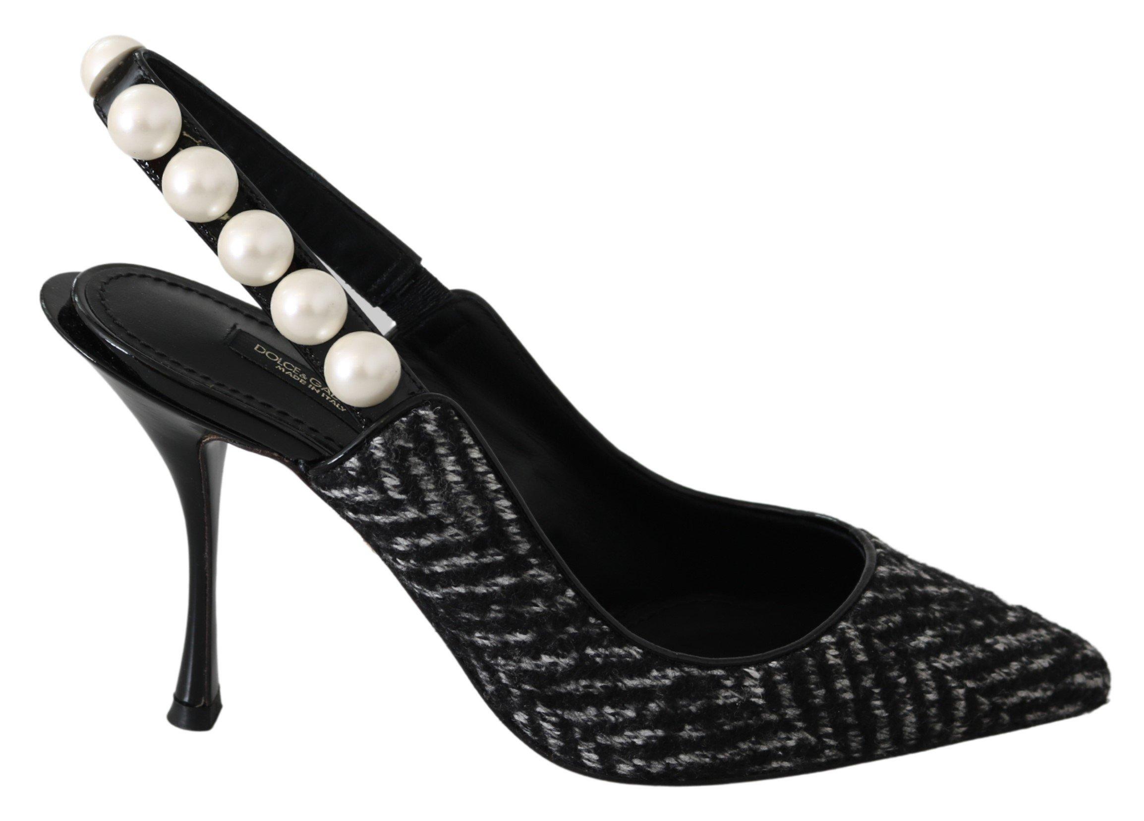 Dolce & Gabbana Women's Chevron Pearls Slingback Black LA7660-37 - EU37/US6.5