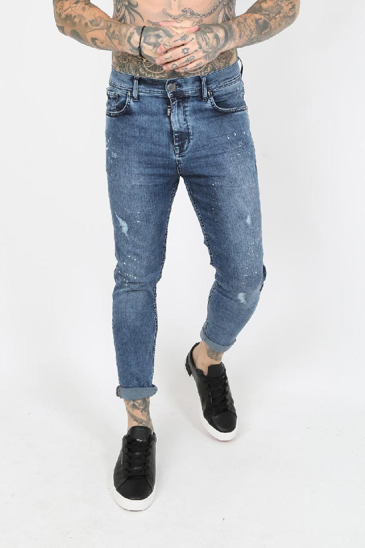 Harley Paint Splatter Ripped Men's Skinny Jeans - Blue Vintage Wash, 30 inch waist