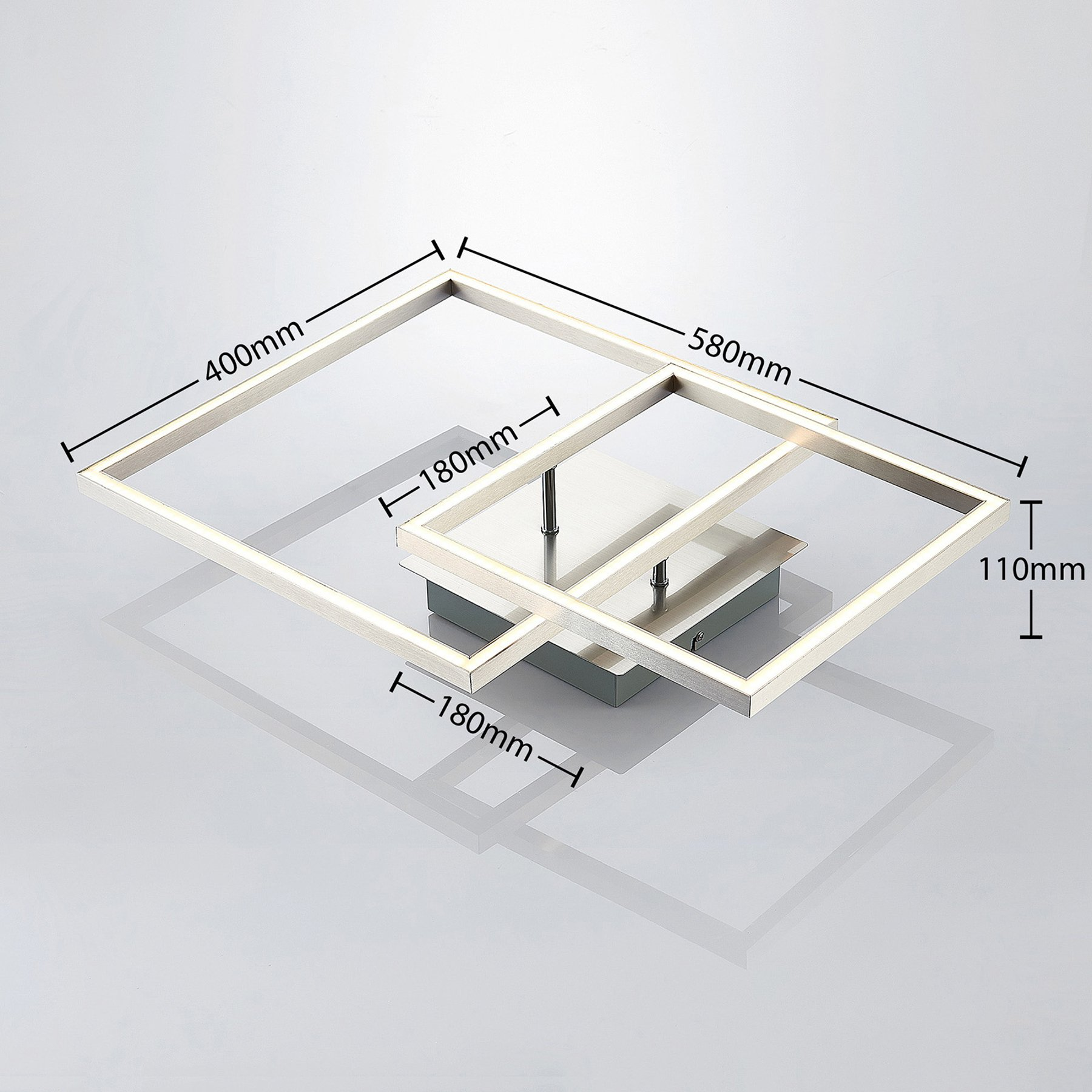 Lindby Katianna LED-taklampe av 2 kvadrater