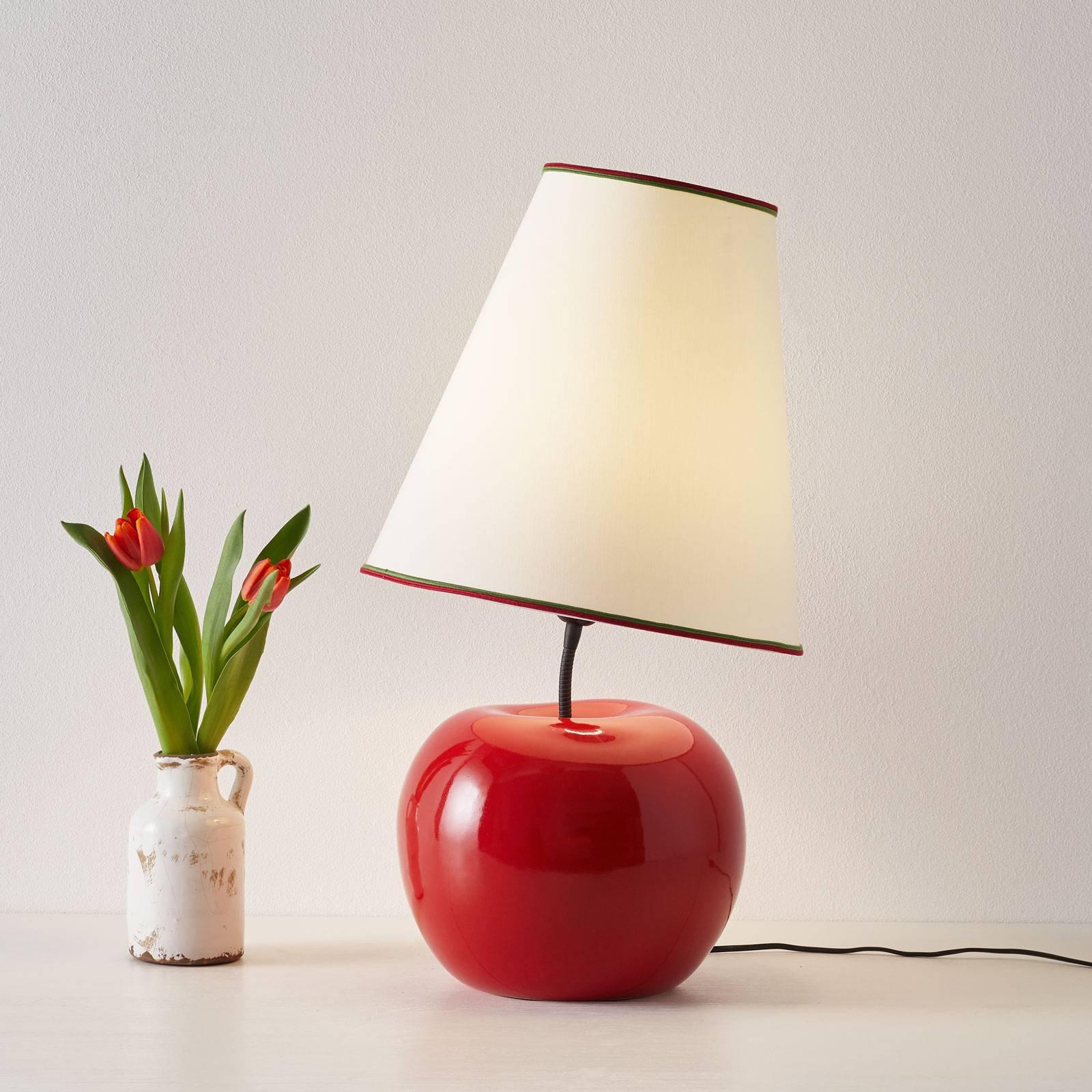 Tekstilbordlampe L187 RSS, keramisk fot, eple