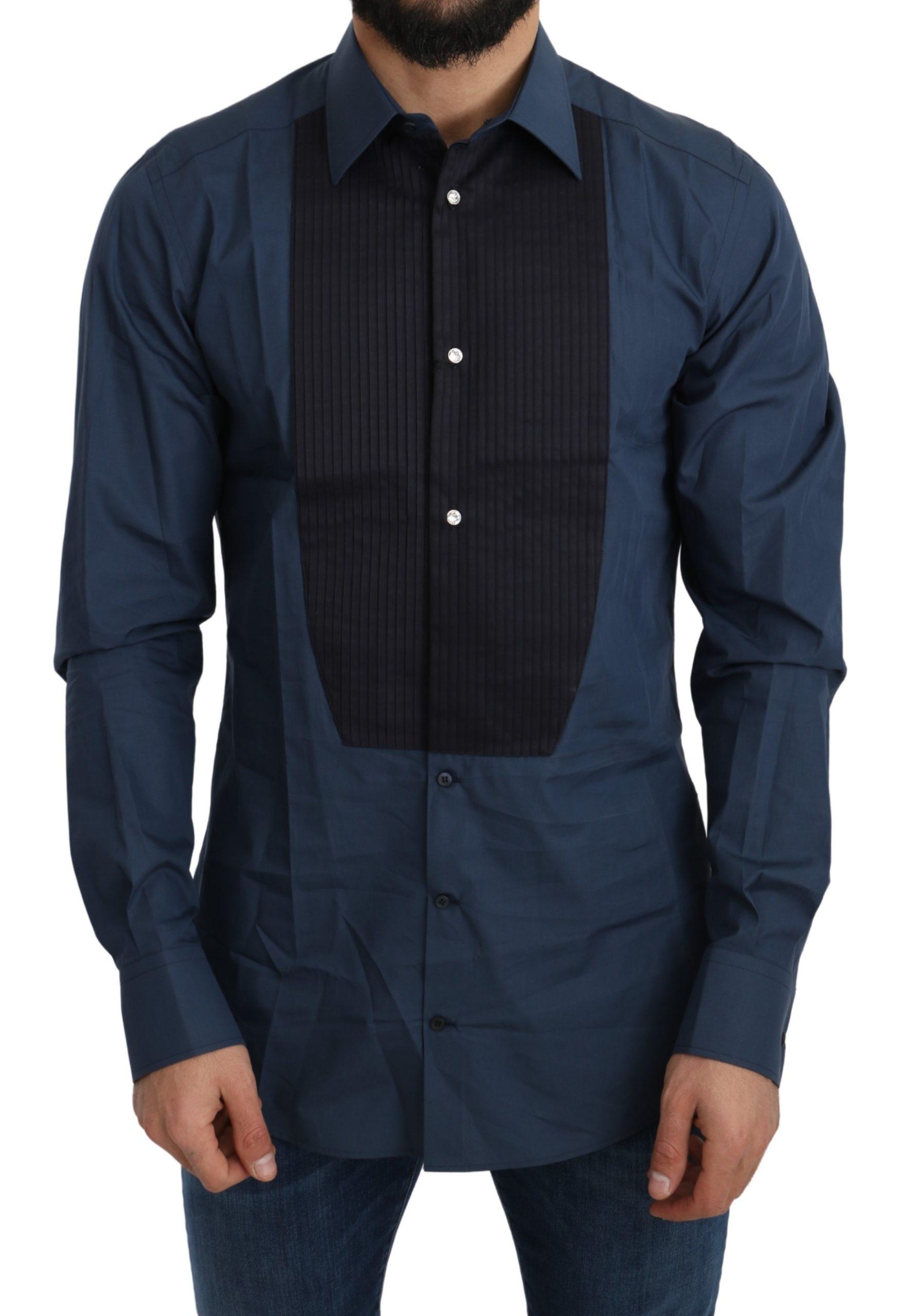 Dolce & Gabbana Men's Cotton GOLD Shirt Blue TSH5216 - 44 | 3XL