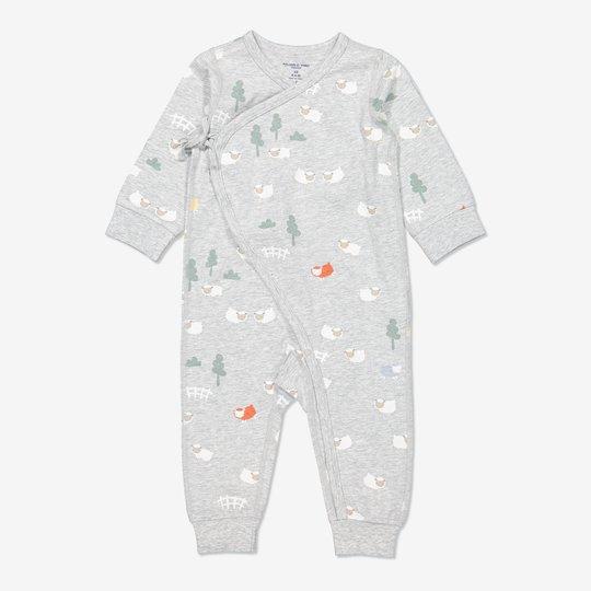 Omslagsdress med blomstertrykk, baby gråmelange