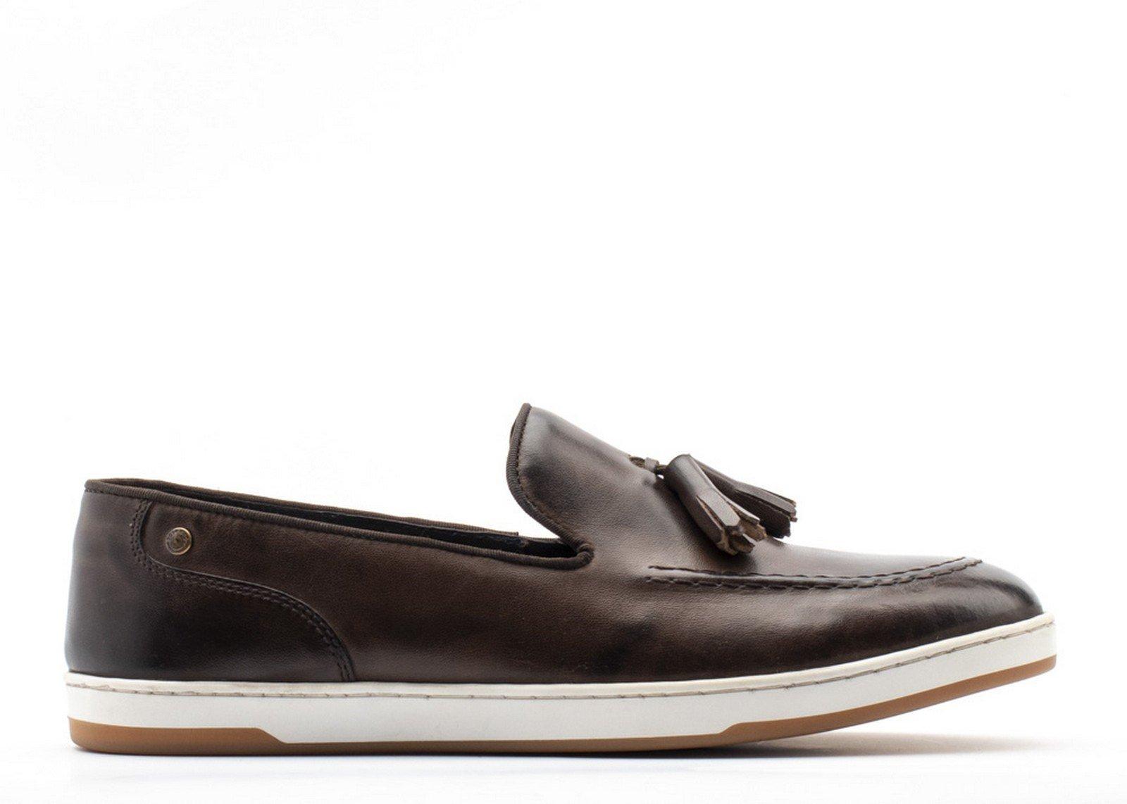 Base London Men's Pogo Burnished Slip On Loafer Various Colours 30446 - Brown 6