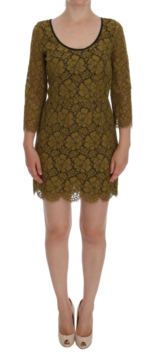 Dolce & Gabbana Women's Floral Lace Mini Shift Dress Yellow DR1001 - IT42|M