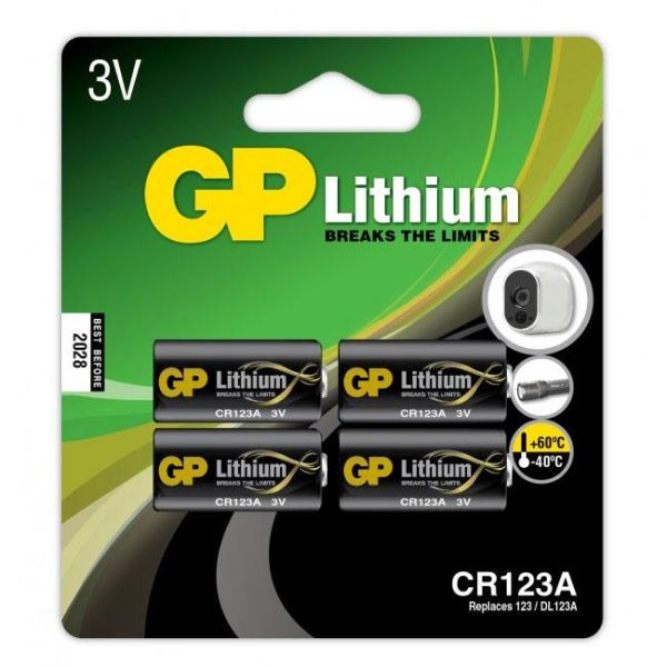 GP Batteries CR 123A-C1 Fotobatteri litium, 3V, 4-pakk