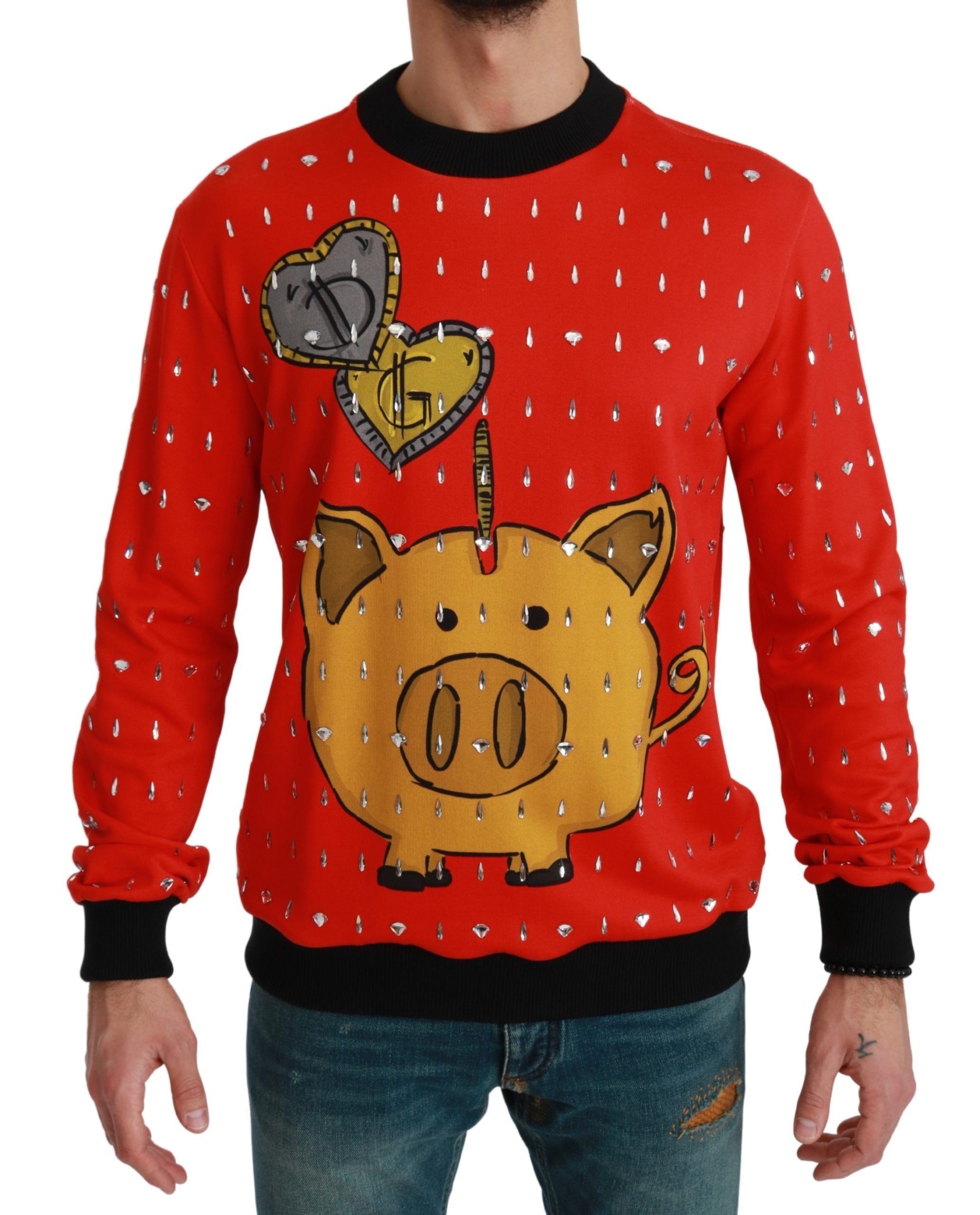 Dolce & Gabbana Men's Crystal Pig of the Year Sweater Red TSH4610 - IT50   L