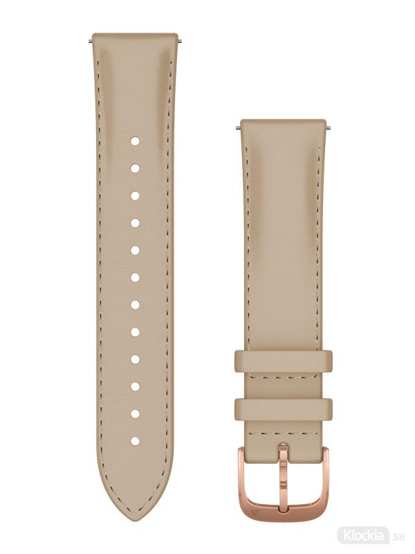 Garmin Armband 20mm med snäppspänne, ljust sandfärgat läderband med 18K roséguld