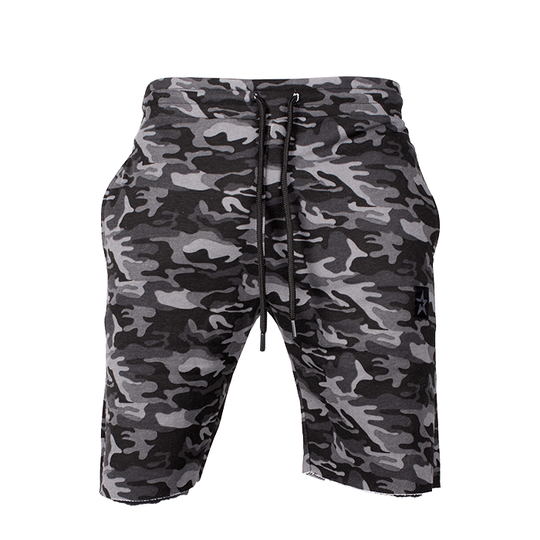 Star Raw Edge Shorts, Black Camo