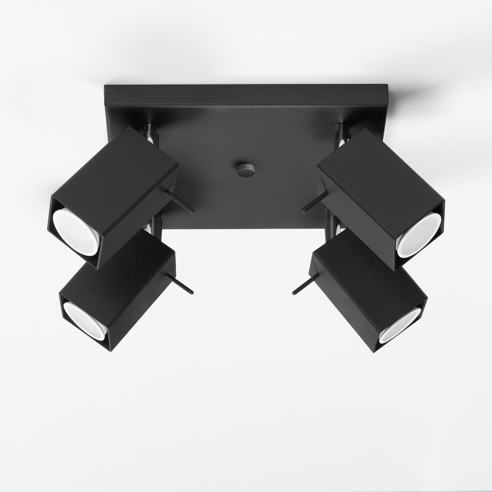 Kattospotti Square, musta, nelilamppuinen, neliö