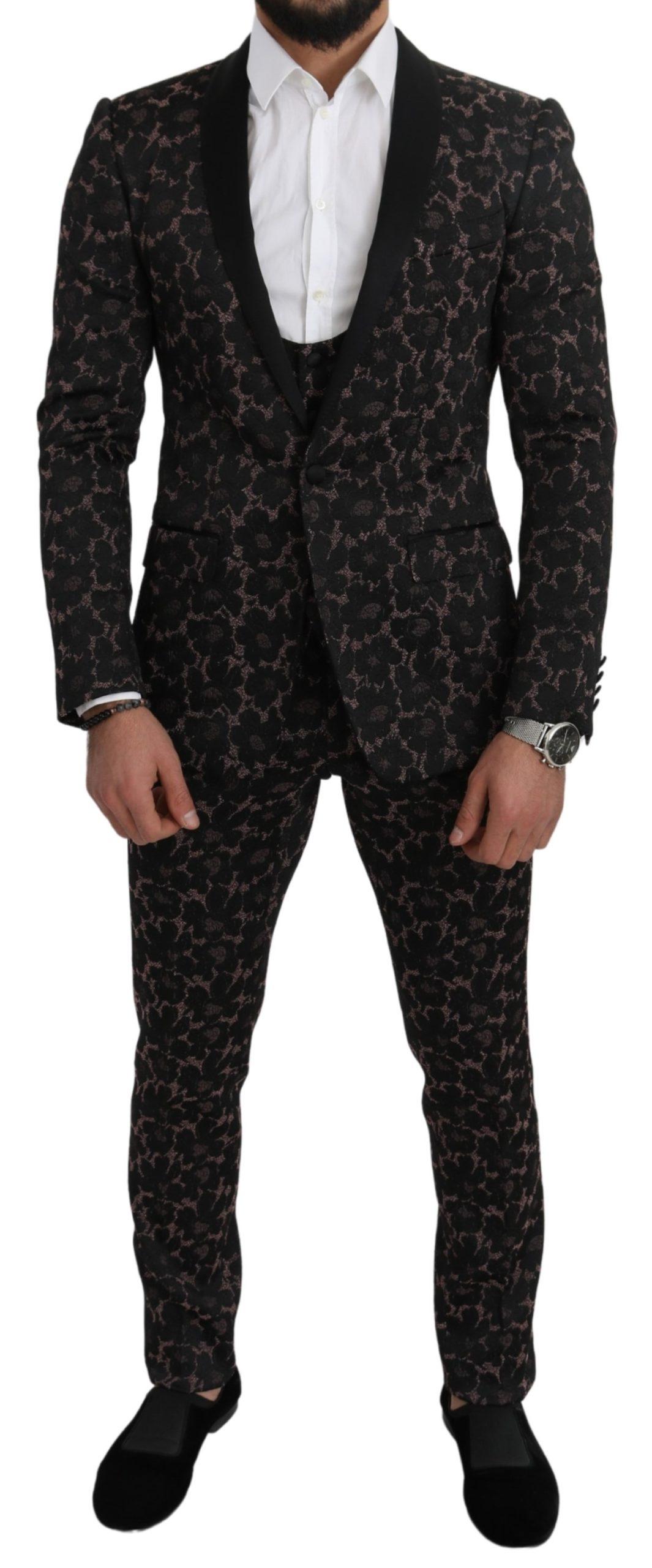 Dolce & Gabbana Men's Floral Shawl 3 Pieces Shiny Suit Black KOS1812 - IT46 | S