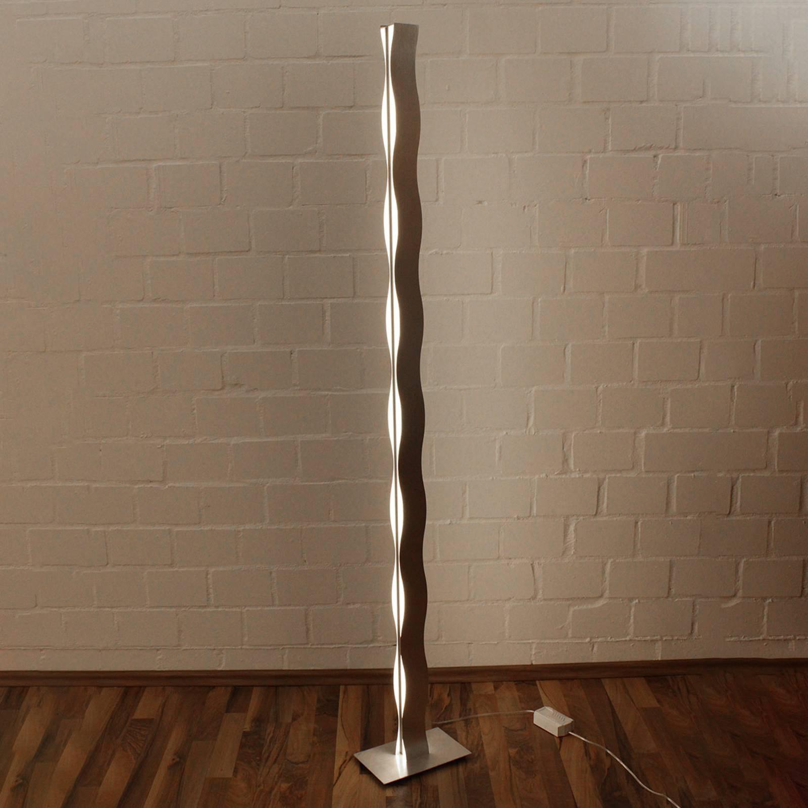 LED-gulvlampe Wave nikkel
