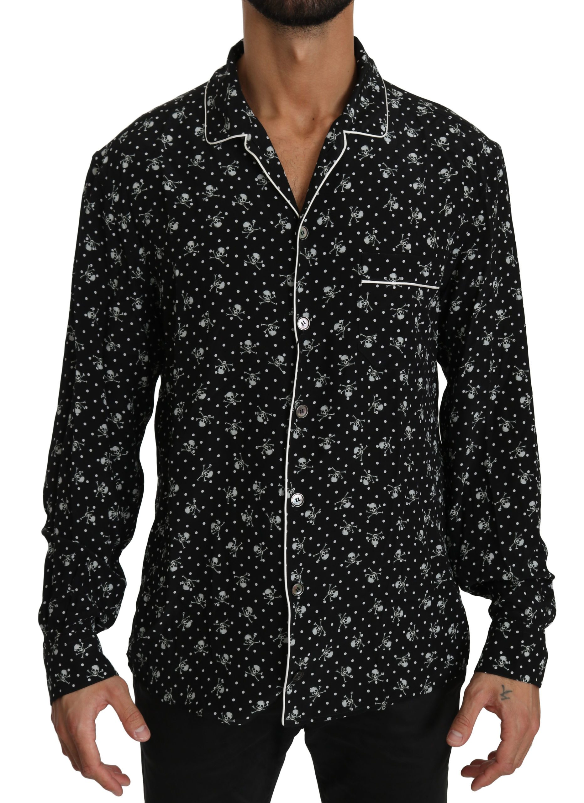 Dolce & Gabbana Men's Skull Print Silk Sleepwear Shirt Black TSH4013 - IT39   S