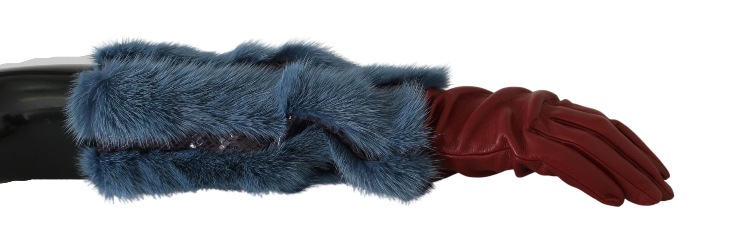 Dolce & Gabbana Women's Fur Mid Arm Length Leather Gloves Red LB1005 - 7.5|S
