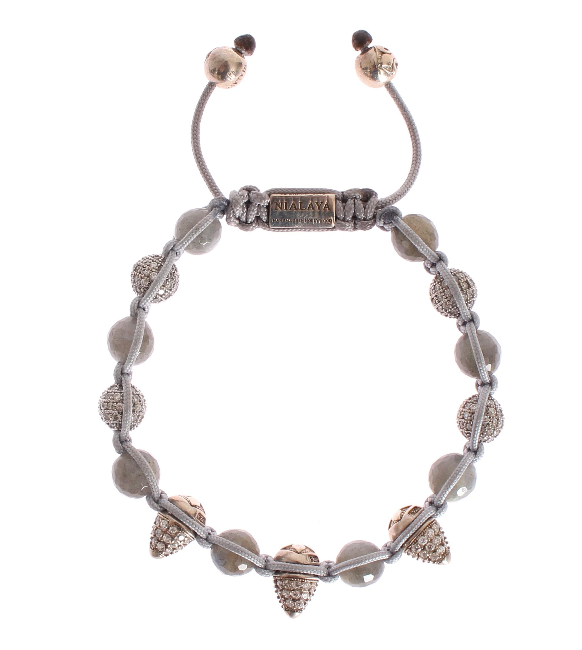 Nialaya Women's CZ Cone Labrodite 925 Silver Bracelet NIA20307 - M