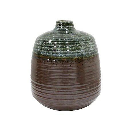 Blomstervase i Keramikk Grønn/Brun