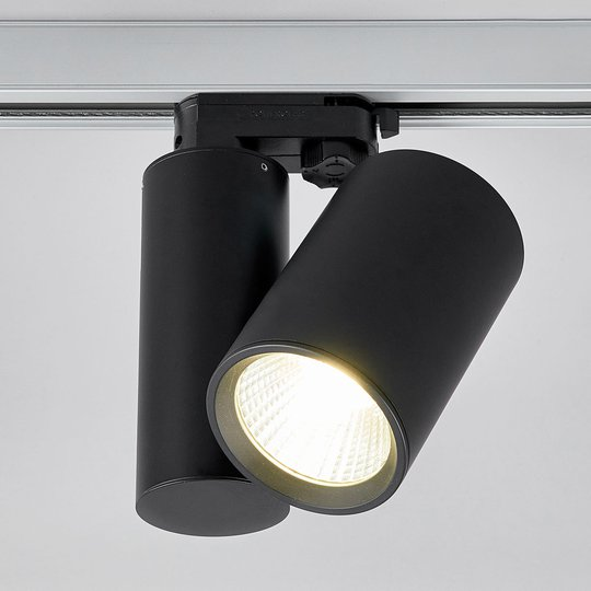 Musta LED-kohdevalaisin Giol kiskojärjestelmään
