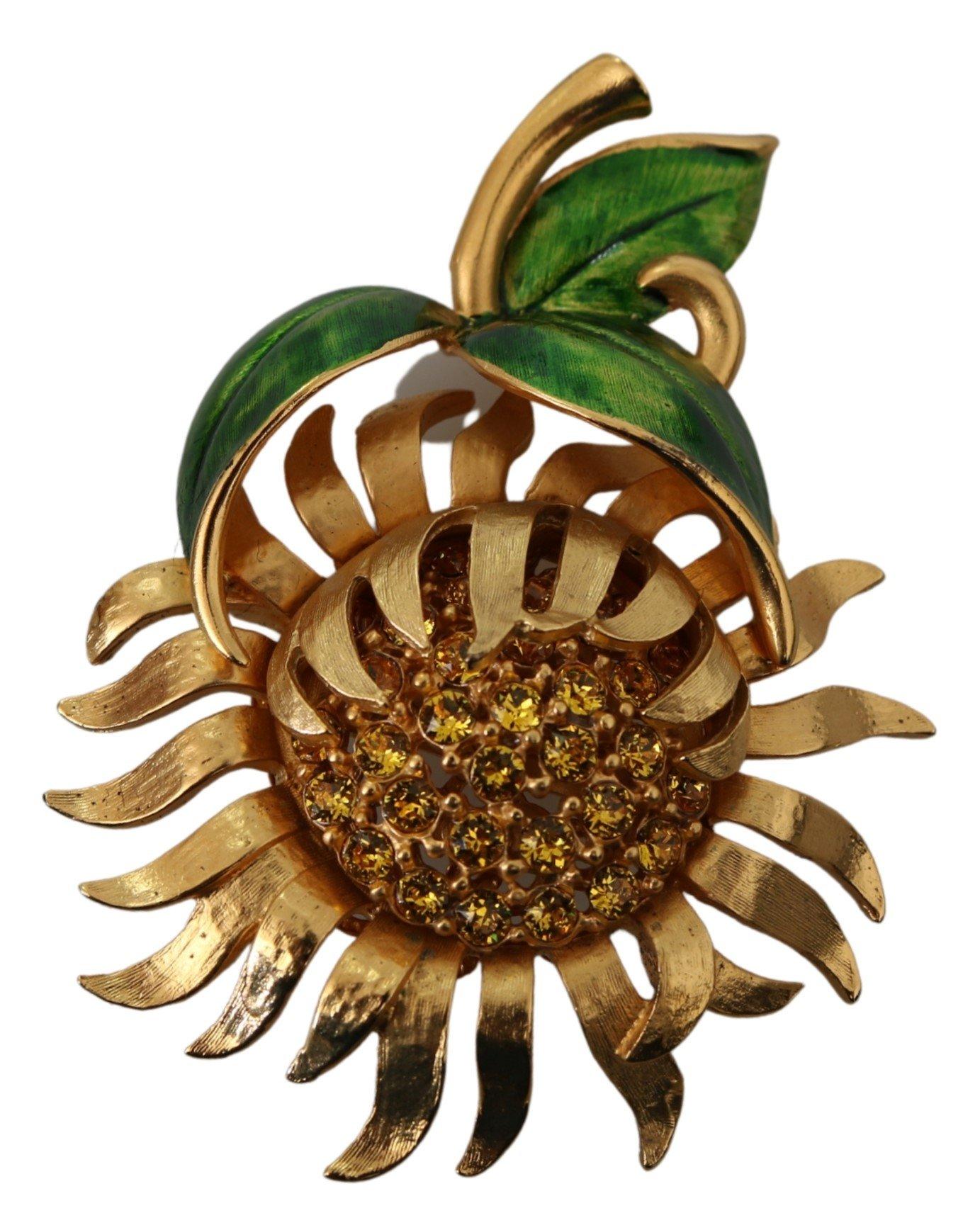 Dolce & Gabbana Women's Plated Brass Crystal Sunflower Pin Brooch Gold SMY100112