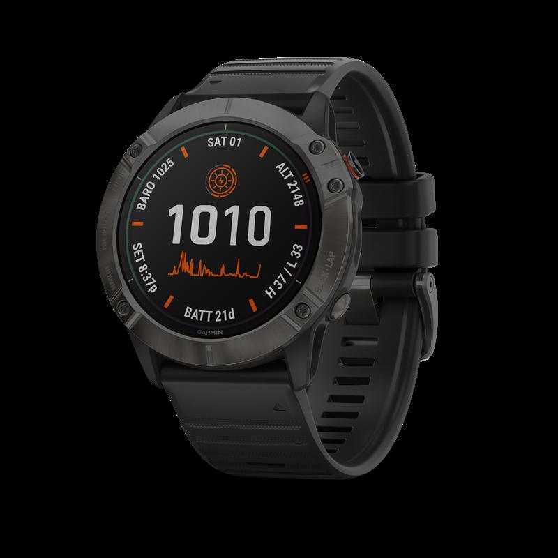 Garmin fenix® 6X Pro Solar GPS-klokke, kabongrå DLC titan