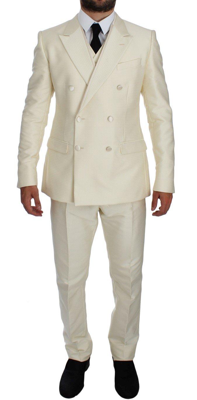 Dolce & Gabbana Men's Slim Double Breasted 3 Piece Suit White GTT10175 - IT50 | L