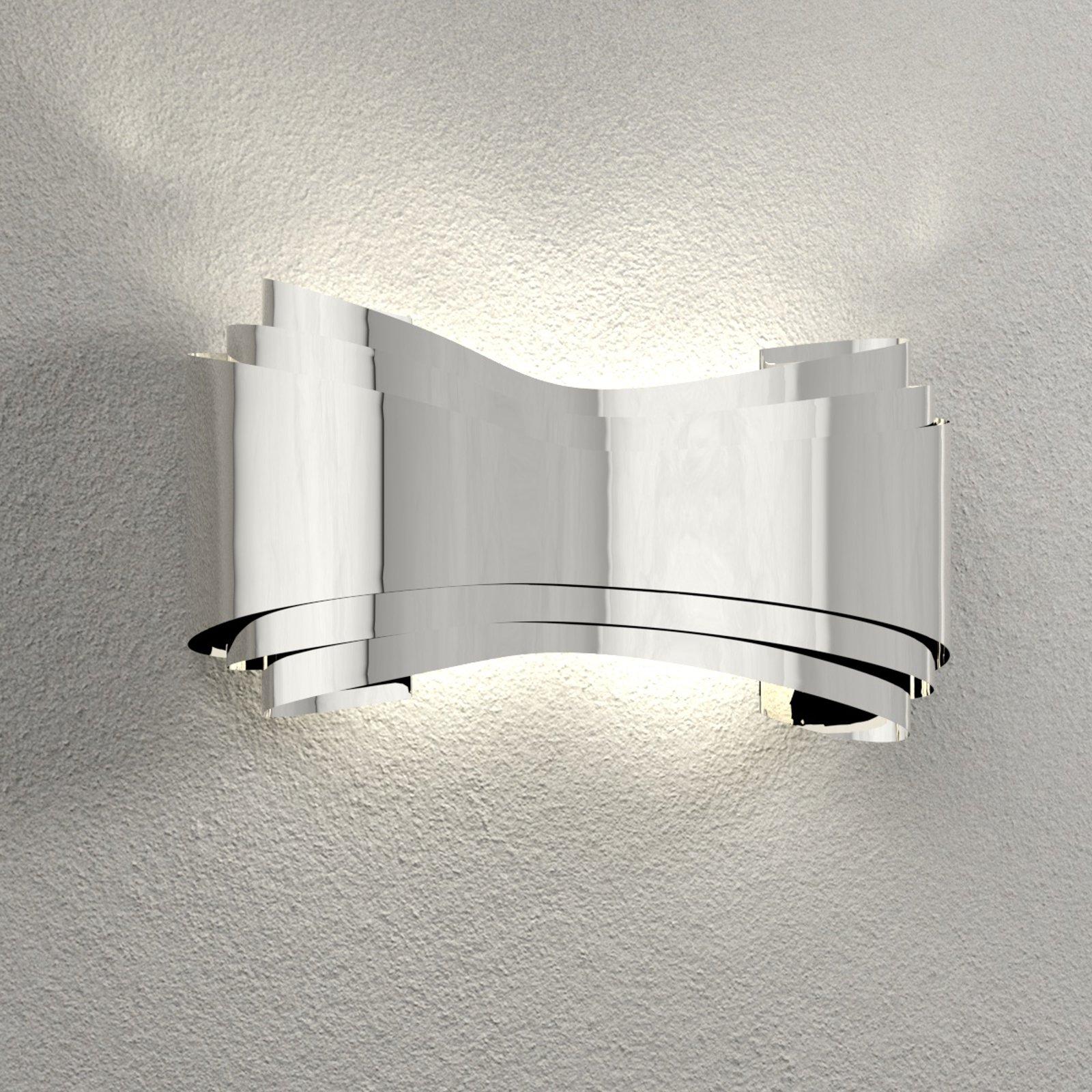 LED-vegglampe Ionica av stål, krom