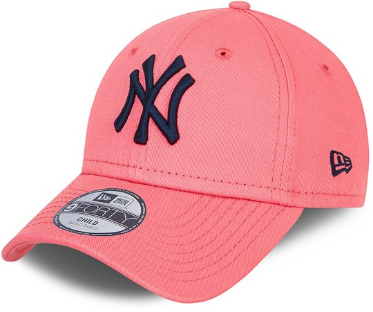 New Era NYY League Essential 9Forty Caps, Pink Lemonade Navy, 4-6 Jahre