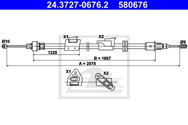 Käsijarruvaijeri ATE 24.3727-0676.2