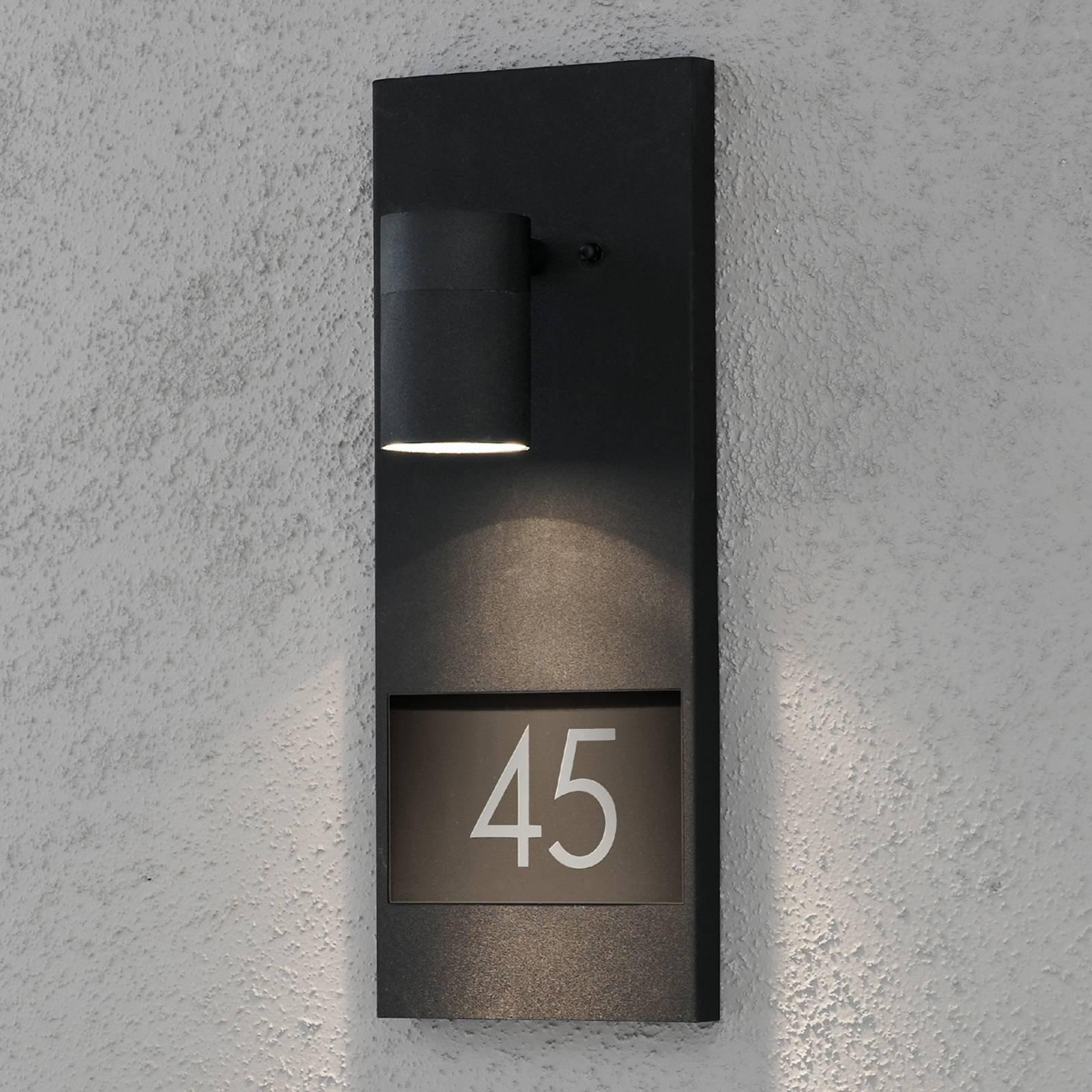 Flott husnummerlampe Modena 7655, svart