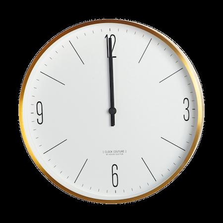 Clock Couture Veggklokke Gull/Hvit 30 cm