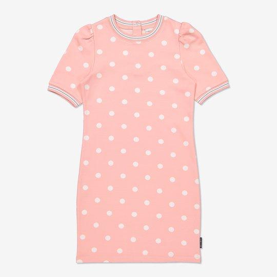 Prikket kjole med pufferm lysrosa