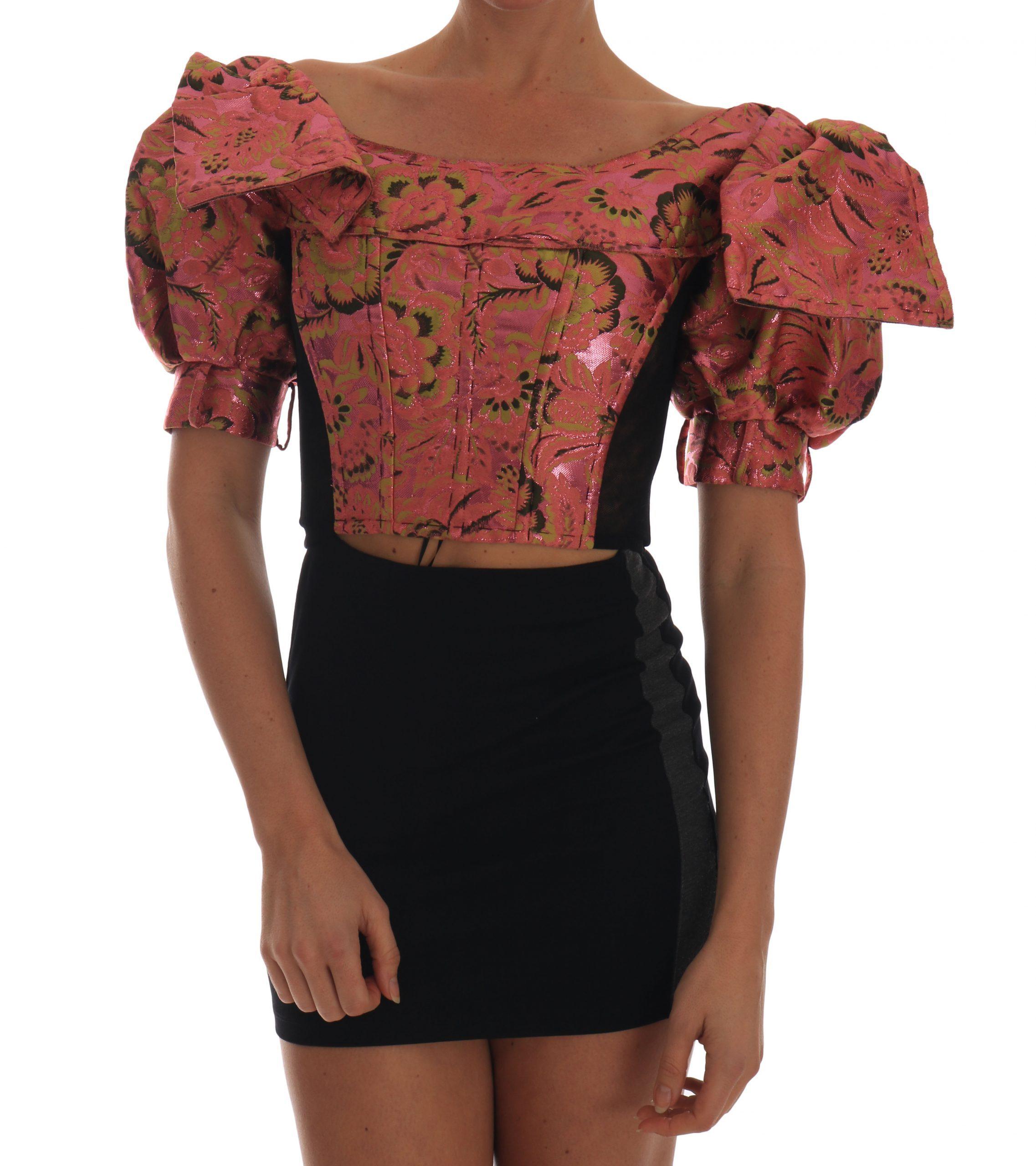 Dolce & Gabbana Women's Puff Sleeve Brocade Top Pink TSH1912 - IT38|XS