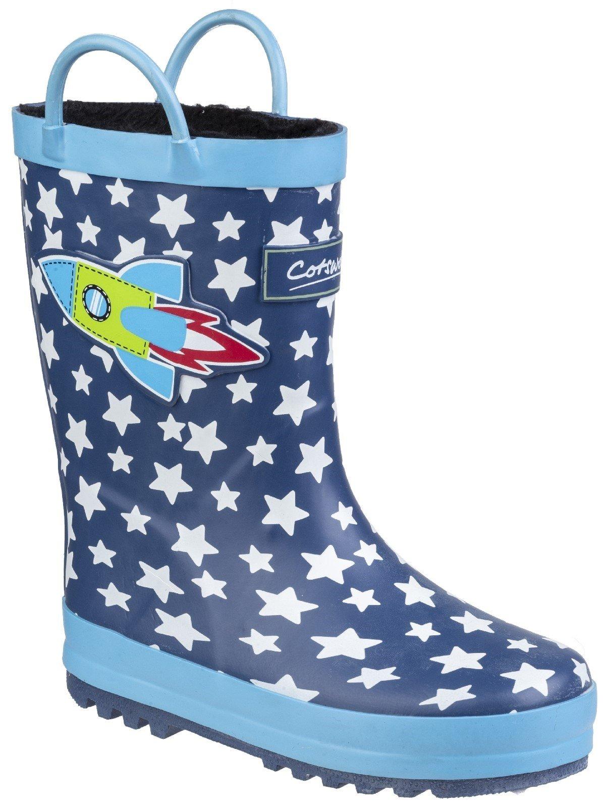 Cotswold Kids Sprinkle Junior Wellington Boot 27178 - Dark Blue & White 6