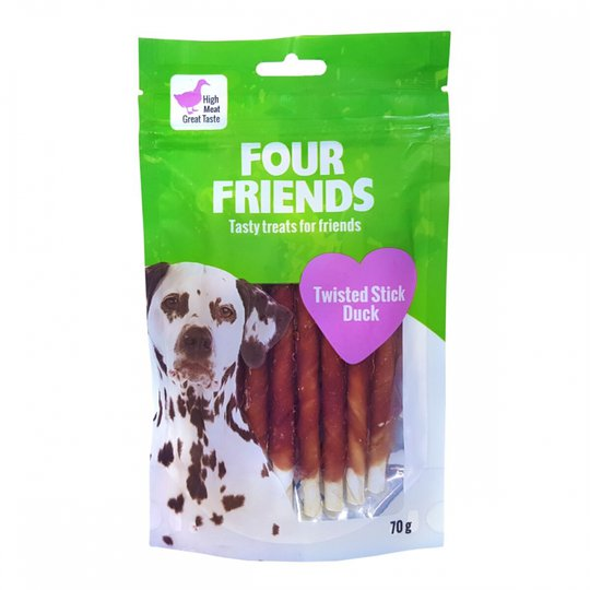FourFriends Dog Twisted Stick Duck 12,5 cm (7 pack)