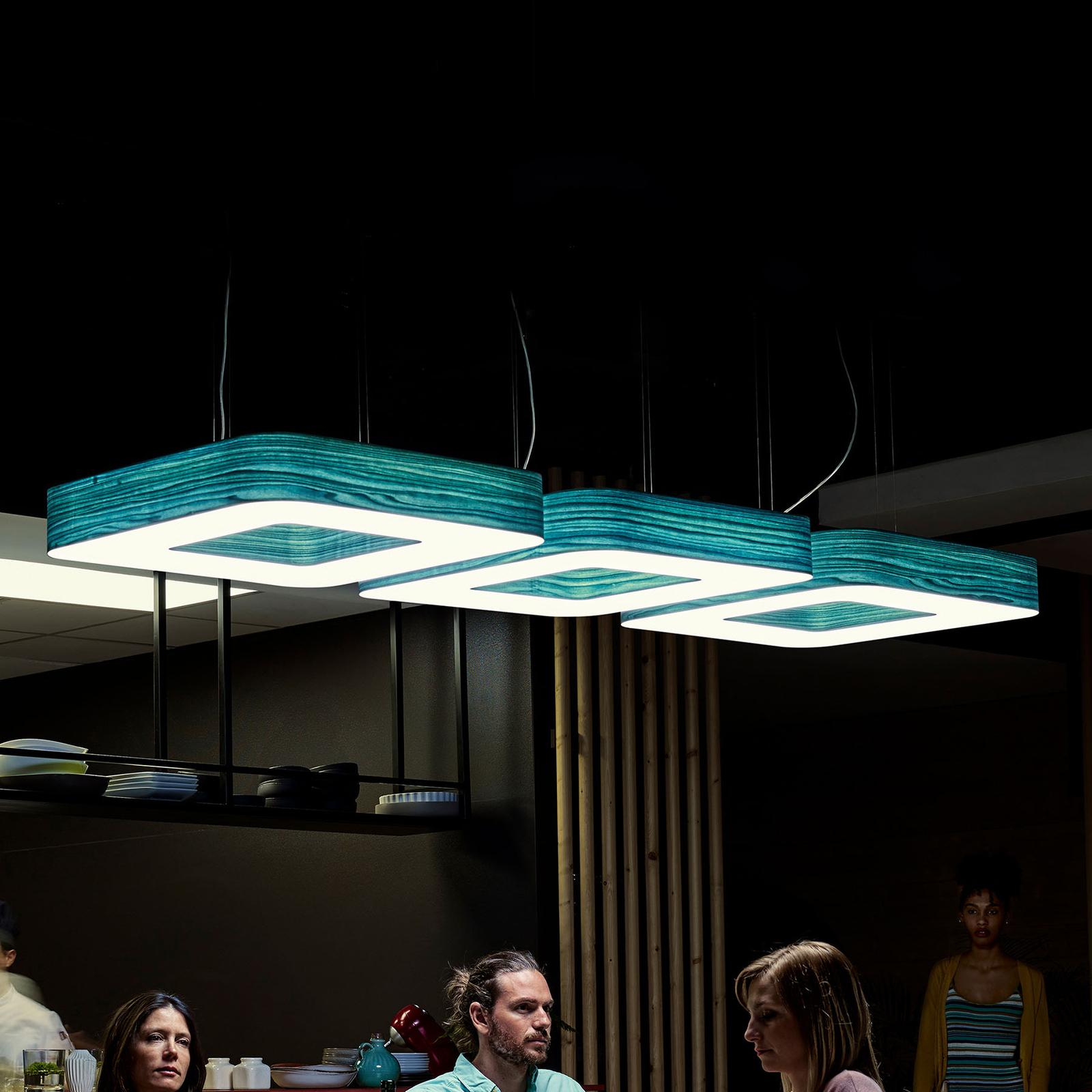 LZF Cuad -LED-riippuvalaisin 0–10 V, turkoosi