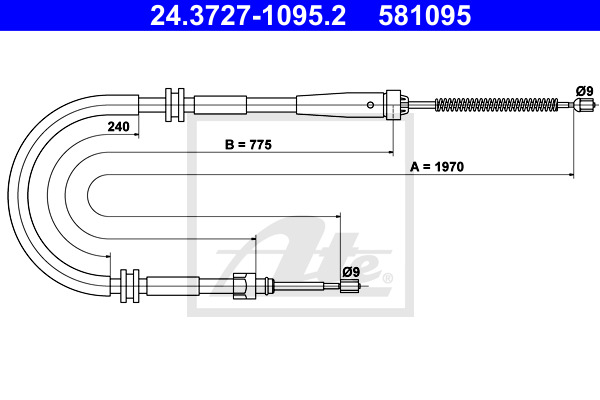 Cable, parking brake ATE 24.3727-1095.2