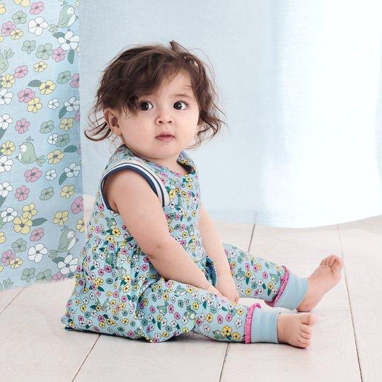 Kjole med blomstertrykk baby lysblå