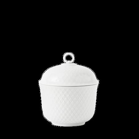 Rhombe Sukkerskål Ø8,5 cm Hvit Porselen