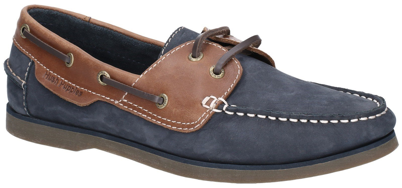 Hush Puppies Men's Henry Classic Lace Up Loafer Various Colours 28365 - Blue/Tan 6