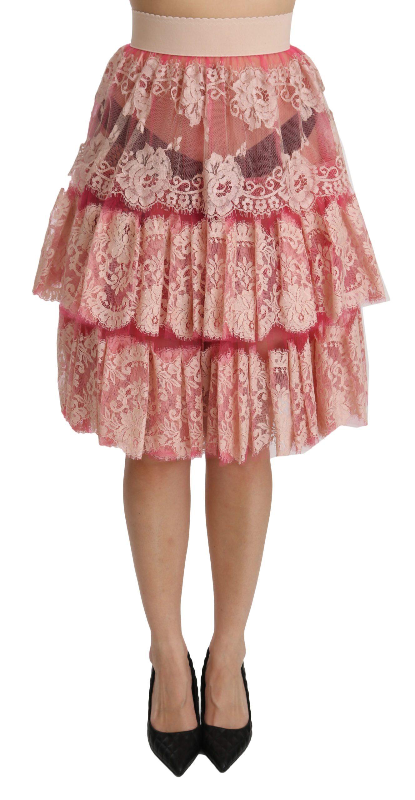 Dolce & Gabbana Women's Lace Layered High Waist Skirt Pink SKI1346 - IT40|S