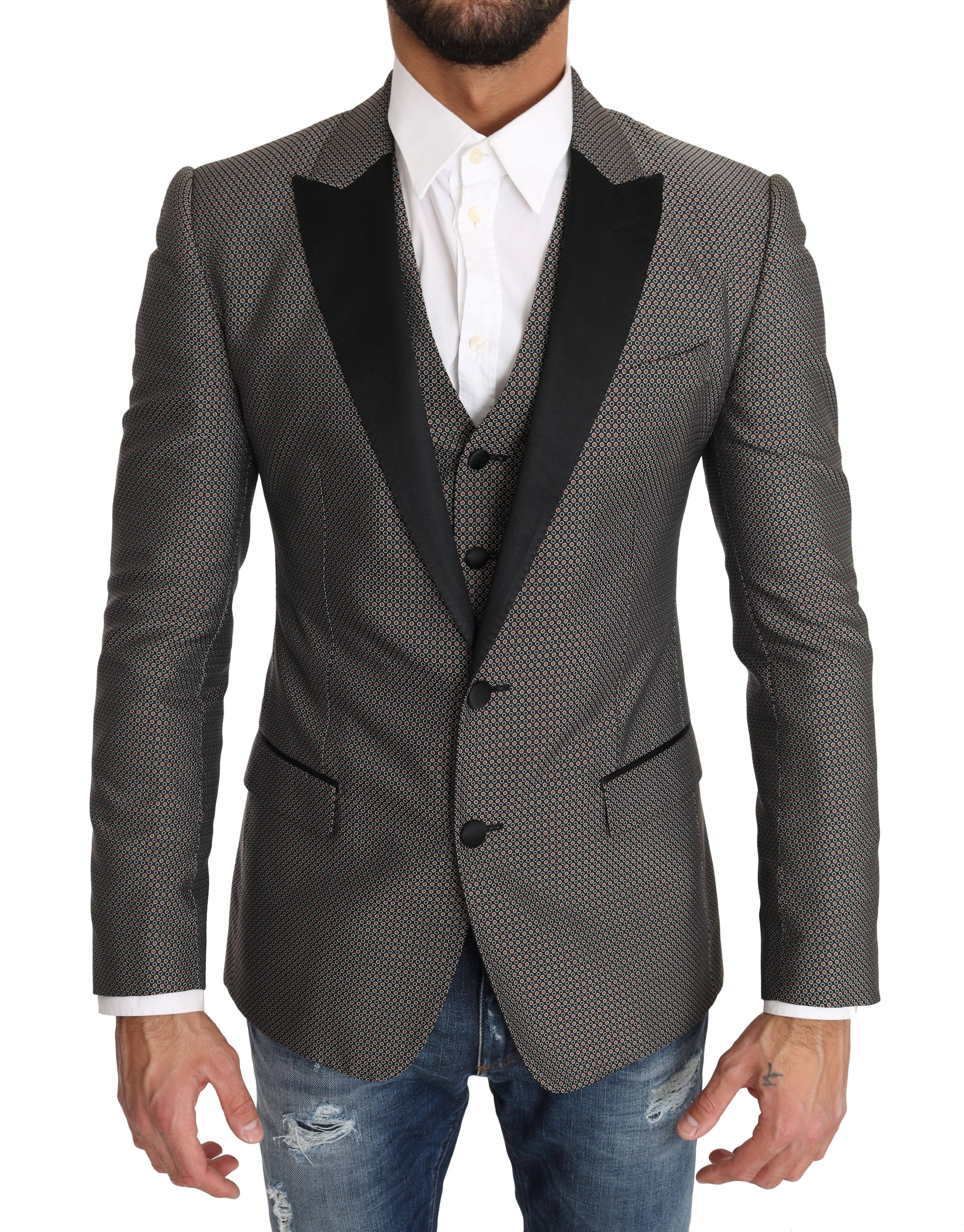 Dolce & Gabbana Men's Vest 2 Piece MARTINI Pattern Blazer Gray KOS1196 - IT46 | S