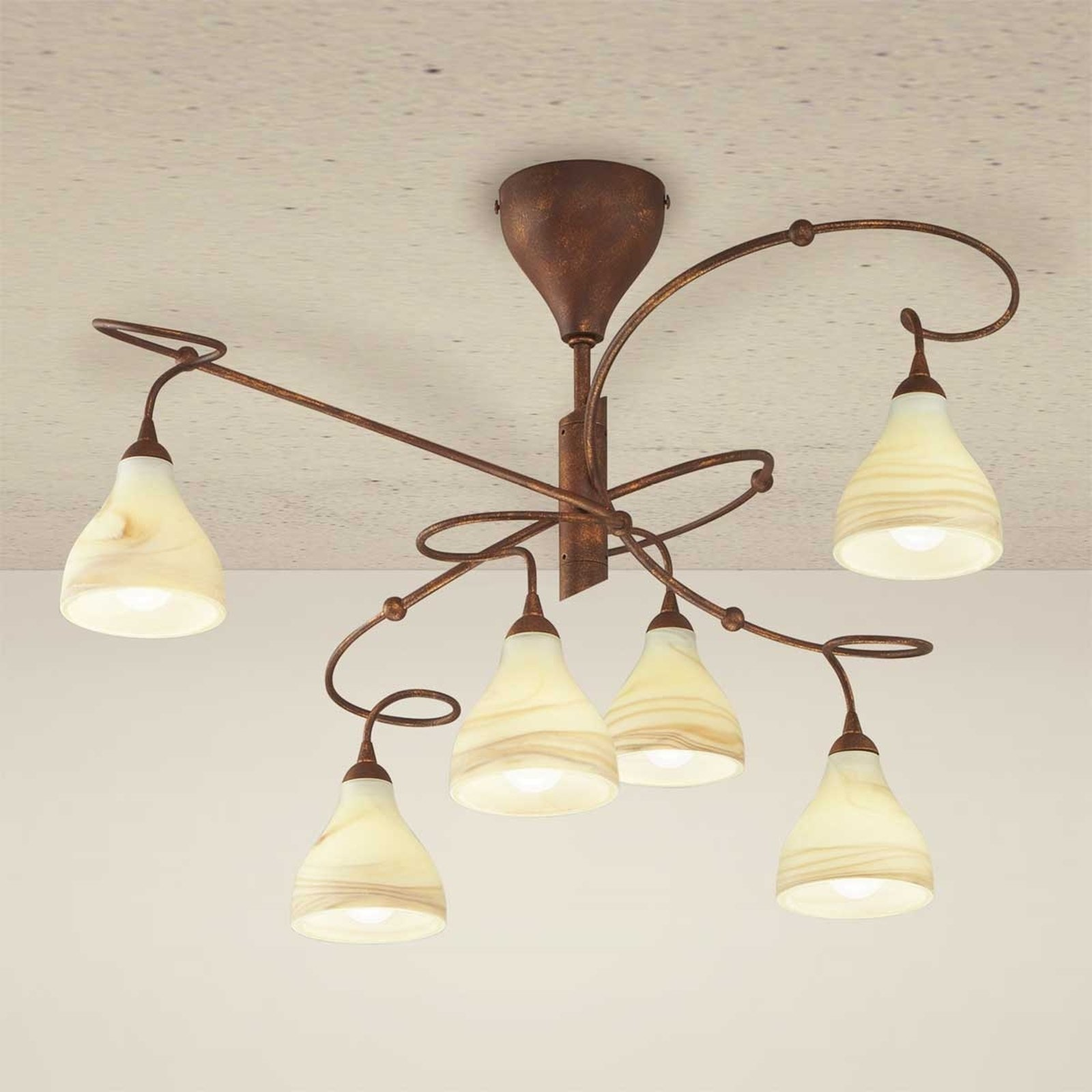 Rustikk taklampe Mattia, 6 lys