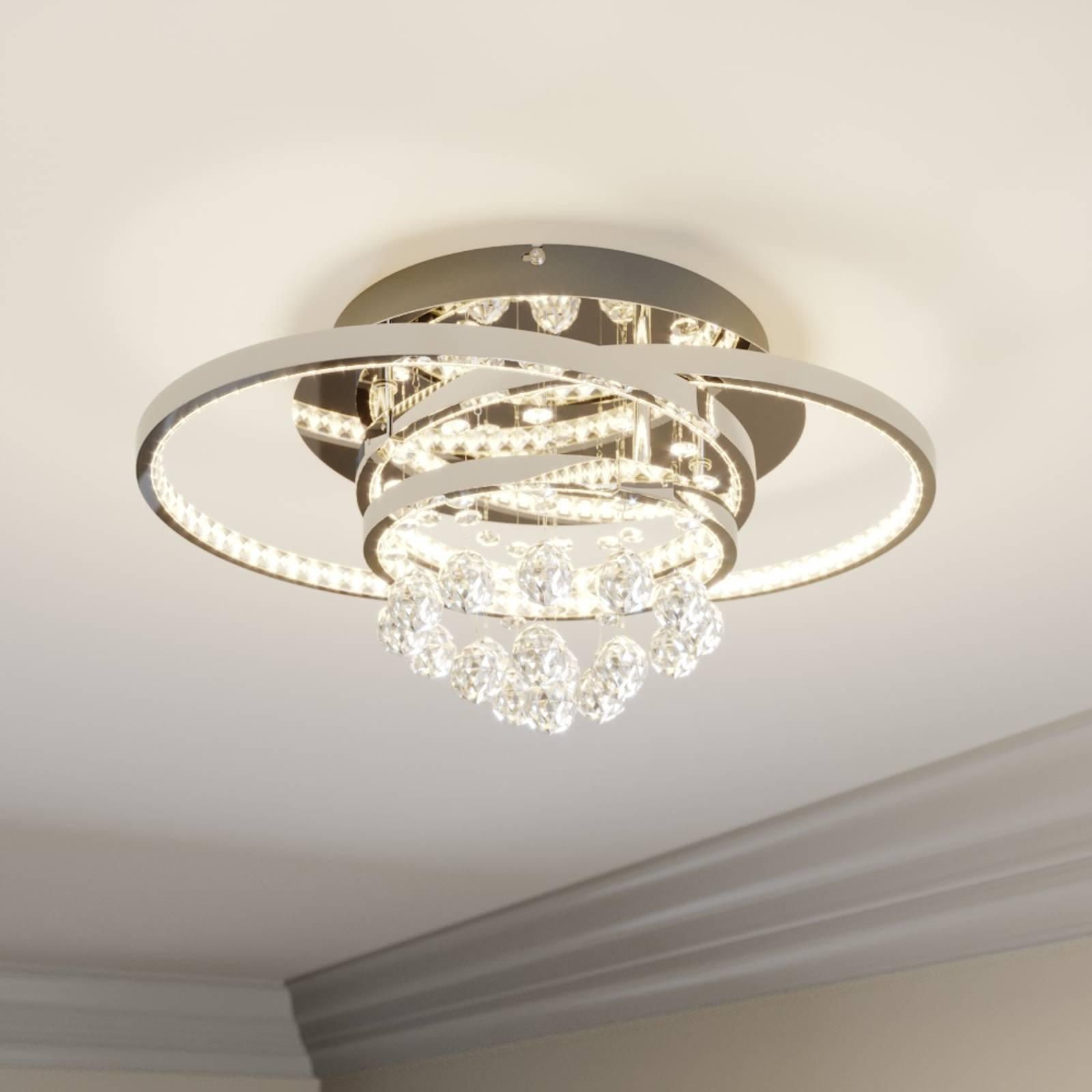Lucande Keely -LED-kattovalaisin, kristalli 44,5cm