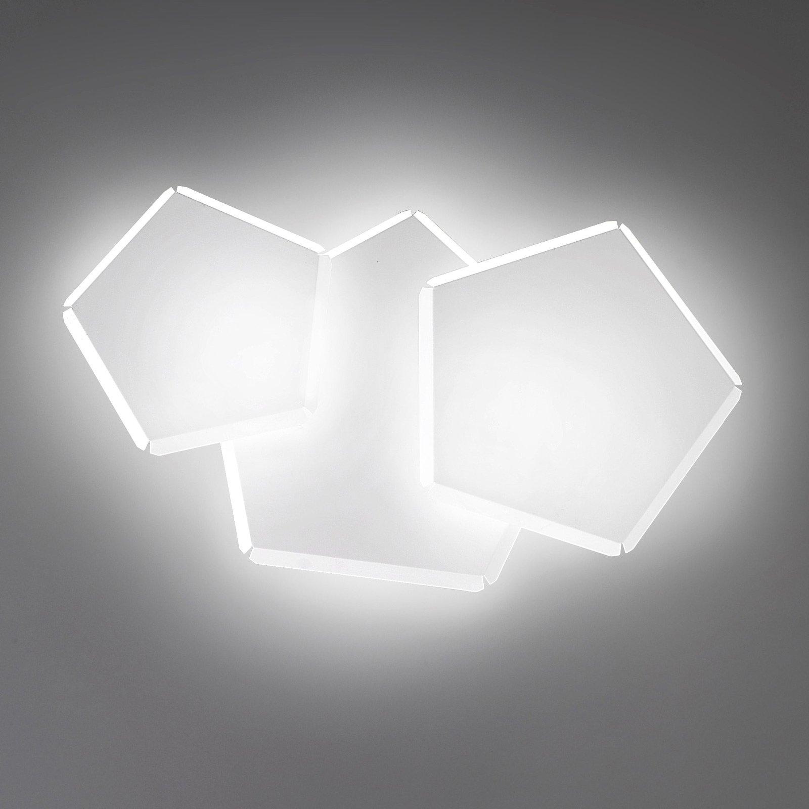 LED-vegglampe Pleiadi i hvit, 3 lyskilder