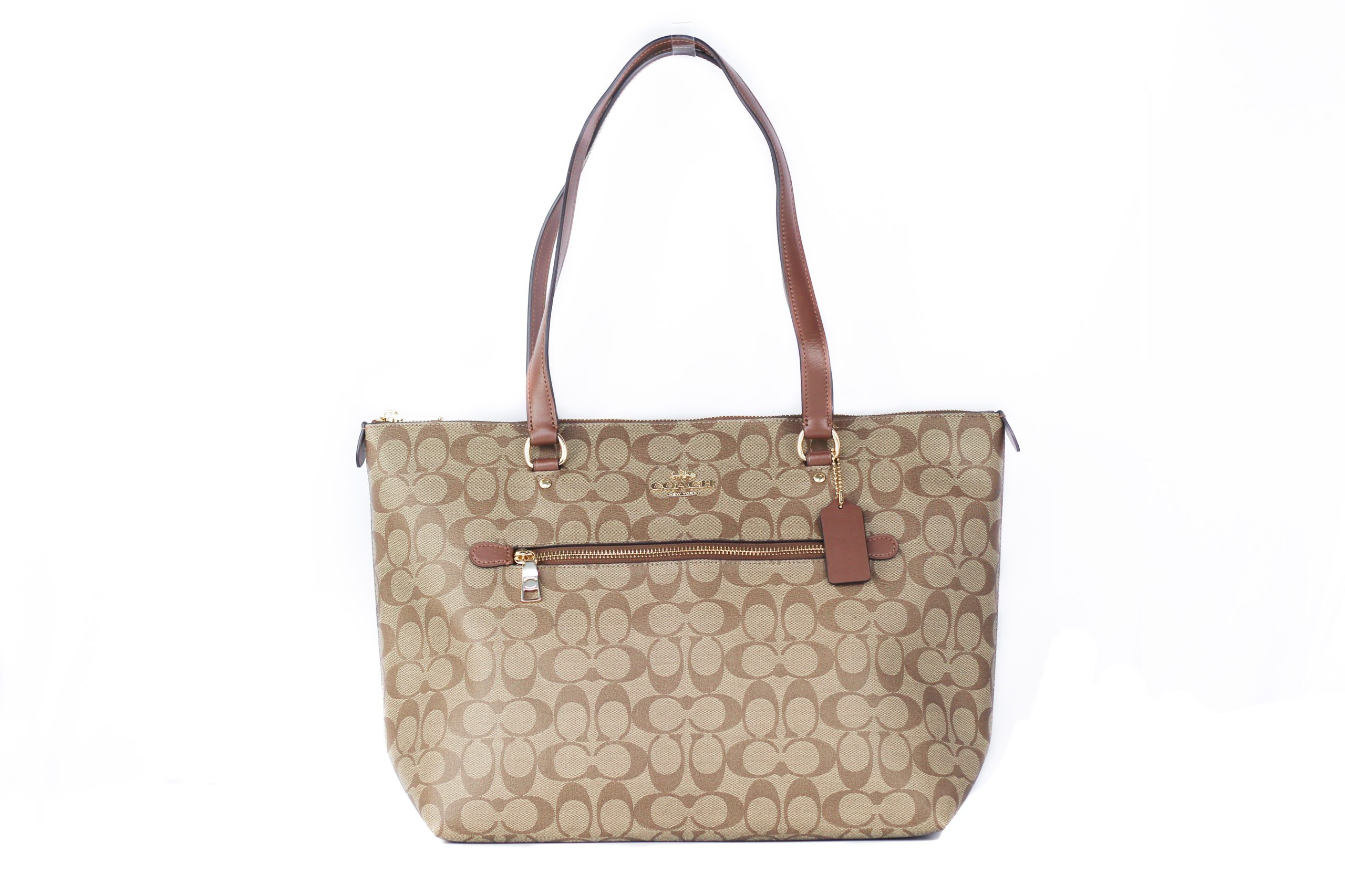 COACH Women's Canvas Leather Tote Bag Khaki 57416