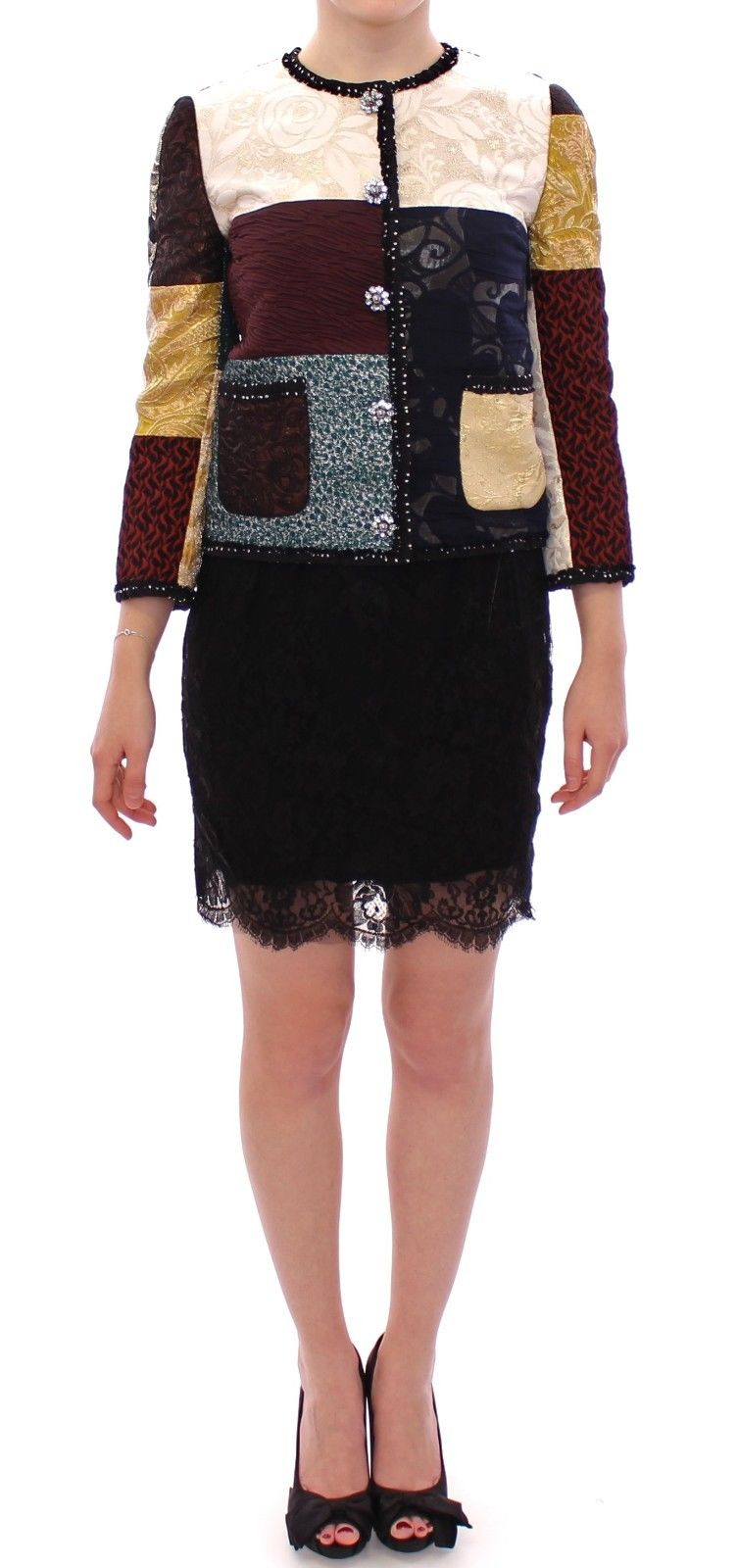Dolce & Gabbana Women's Patchwork Baroque Crystal Jacket Coat Multicolor GSS11672 - IT38|XS